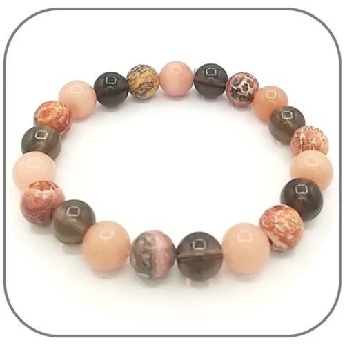 Bracelet Dépassement de soi Quartz fumé, Opale rose, Jaspe léopard