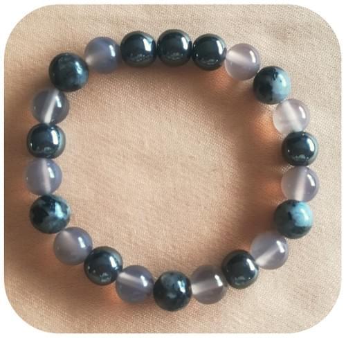 Bracelet Labradorite Hématite (non magnétique) et Agate