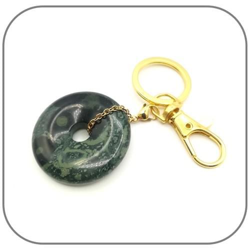 Clip Porte clé doré donut pierre naturelle Jaspe Kambaba