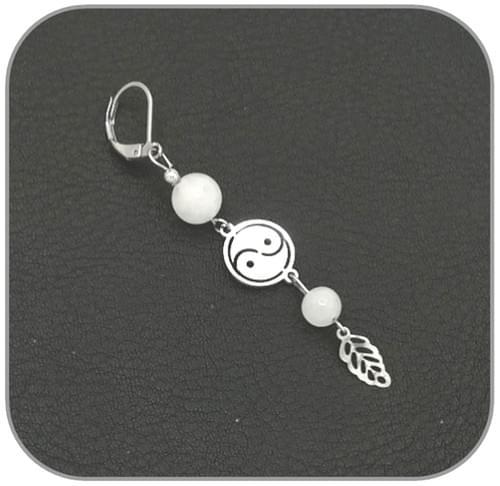 Boucles d'oreilles Yin yang Acier argent pierre naturelle 6mm et 8mm -  Pierre au choix