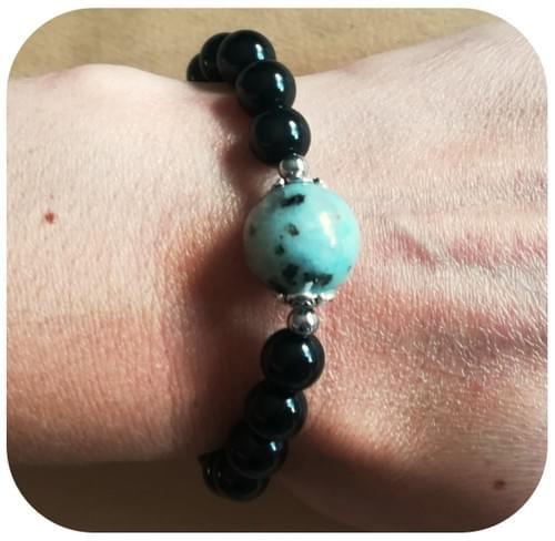 Bracelet Obsidienne et Jaspe Sésame