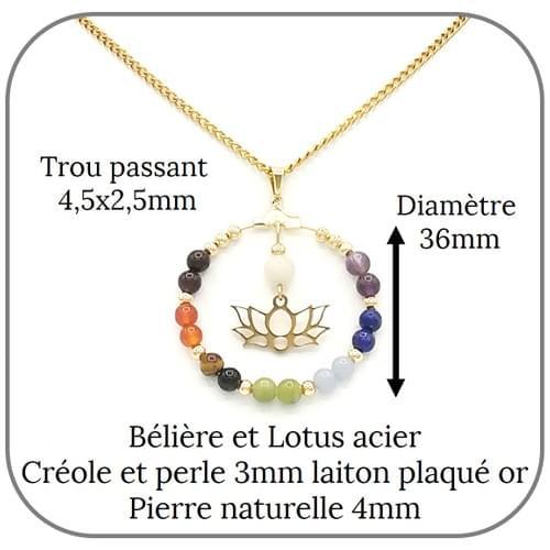 Pendentif Acier doré ou argent 7 Chakras pierre naturelle 4mm