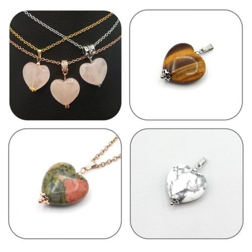 Pendentif Cœur Quartz rose, Unakite, Oeil de tigre, Howlite -  Bélière au choix