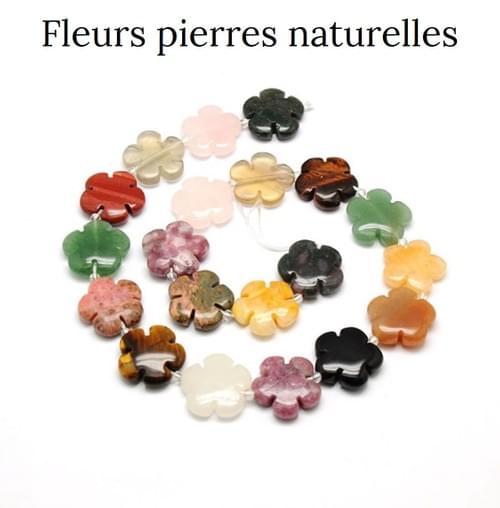 Pendentif fleur en pierre naturelle - 10 Pierres au choix