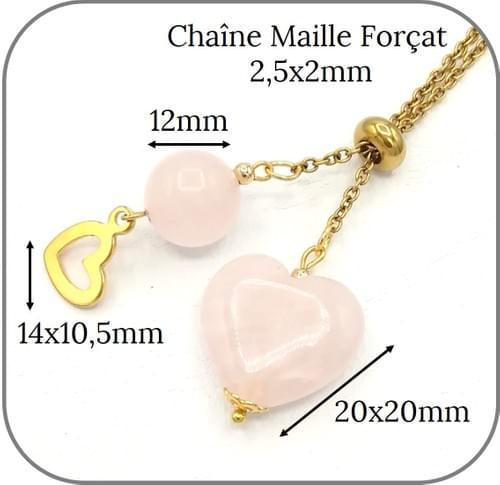 Sautoir acier doré Pierre naturelle Cœur, Perle 12mm et breloque coeur - 3 Pierres au choix