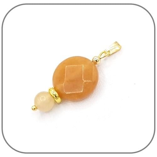 Pendentif Acier argent ou doré,  Jade Topaze facettes 16mm et perle 6mm