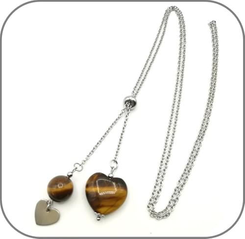 Sautoir acier argent Pierre naturelle Cœur, Perle 12mm et breloque coeur - 3 Pierres au choix
