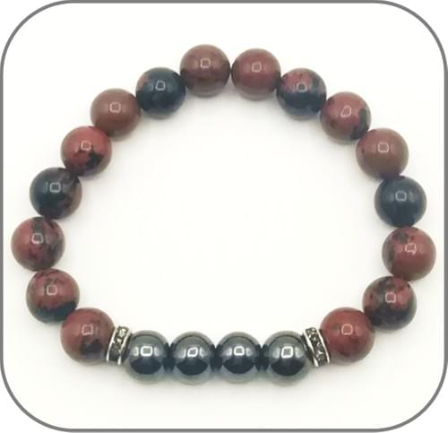Bracelet Obsidienne acajou et Hématite