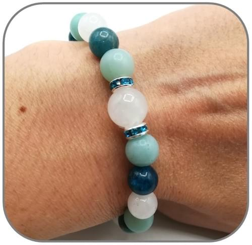 Bracelet Chakra Gorge avec Apatite, Amazonite et Jade blanche