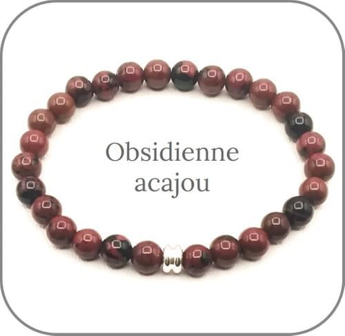 Bracelet Pierre rouge 6mm Au choix Agate, Aventurine, Cornaline, Sardonyx, Obsidienne acajou...