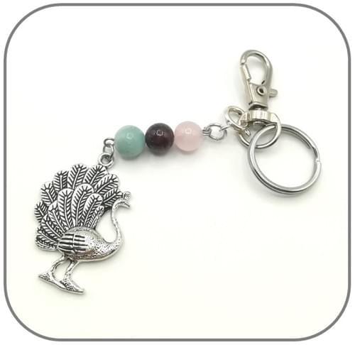 Porte clés 3 perles 8mm + Grosse breloque - 2 modèles au choix