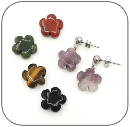 Boucles d'oreilles Pierre naturelle Fleur - 9 pierres au choix