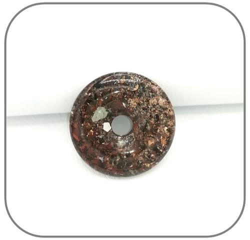 Pendentif Donut Jaspe Orbiculaire vert kaki gris - Modèle unique