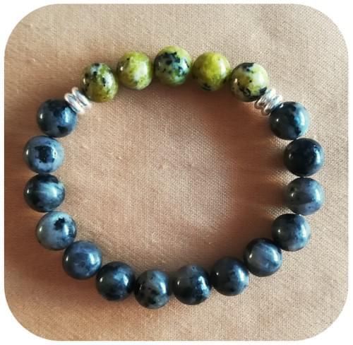 Bracelet Labradorite et Serpentine