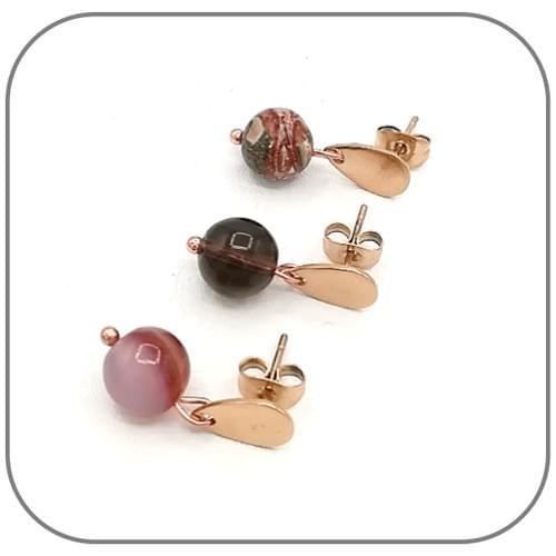 Boucles d'oreilles Goutte Acier or rose et Pierre naturelle 8mm au choix