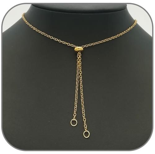 Collier Sautoir acier doré pour clip pendentif pierre naturelle et breloque