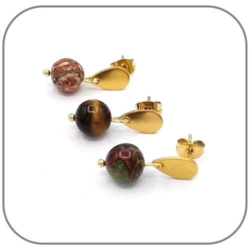 Boucles d'oreilles Goutte Acier doré et Pierre naturelle 8mm au choix