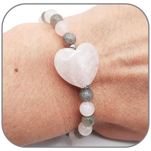 Bracelet Pierre naturelle Cœur 20mm au choix et perle 6mm