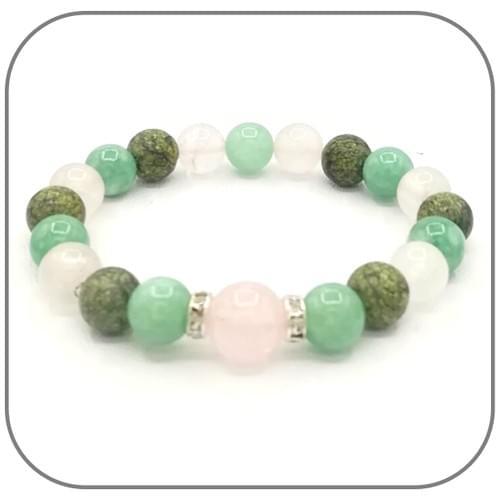 Bracelet Chakra du Cœur avec Quartz Rose, Jade Myanmar et Jade Africaine