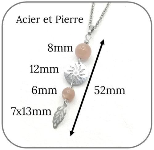 Pendentif Soleil Acier argent pierre naturelle 6mm et 8mm -  Pierre au choix
