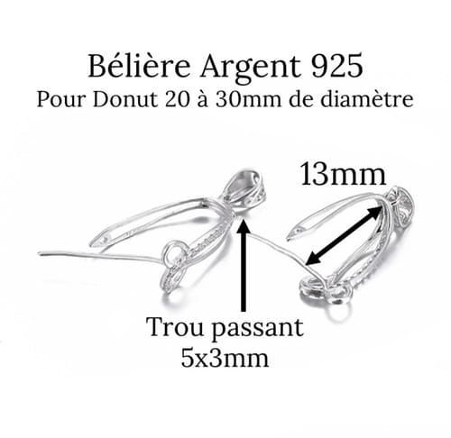 Bélière Argent 925 Motif boucles entrelacées et zircons pour donut en pierre naturelle
