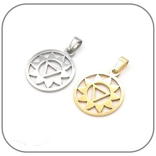 Pendentif Chakra au choix Acier doré ou argent
