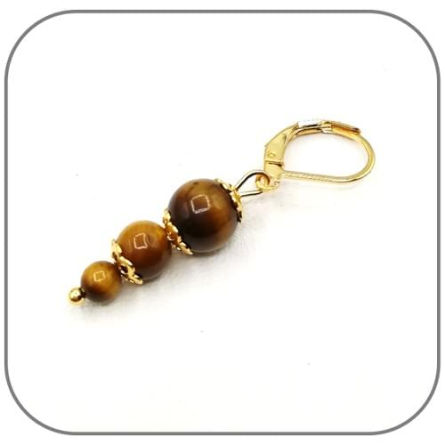 Pendentif Acier doré 3 perles croissantes 4, 6 et 8mm - Pierre au choix