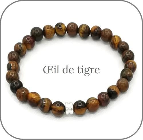 Bracelet Pierre naturelle marron 6mm Au choix : Oeil de tigre, Bois fossile, Quartz fumé
