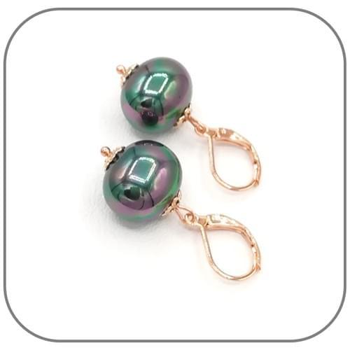 Parure Perle Nacre noire et Acier or rose