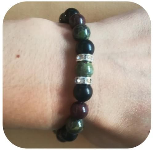 Bracelet Jaspe de dragon, Grenat et Shungite