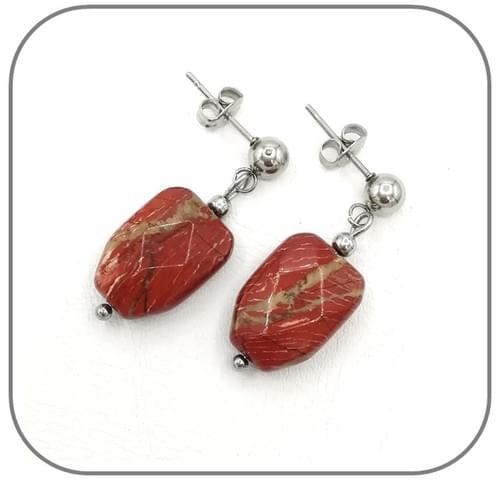Parure Jaspe rouge nervurée pierre naturelle polygone facettes - Acier argent, doré ou or rose