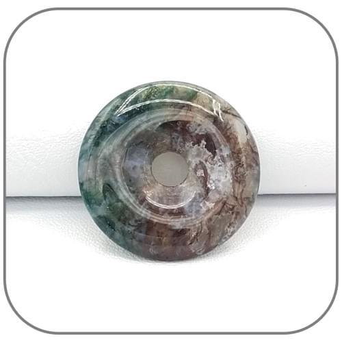 Pendentif Donut Agate vert pourpre - Modèle unique