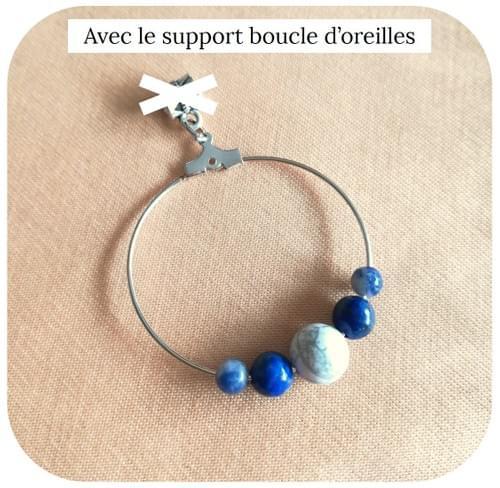 Boucles d'oreilles Chakra 3ème Œil en pierres naturelles : Lapis Lazuli, Sodalite, Howlite