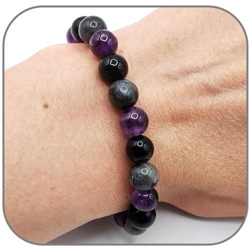 Bracelet Eveil spirituel 6/8/10mm Améthyste Labradorite Obsidienne