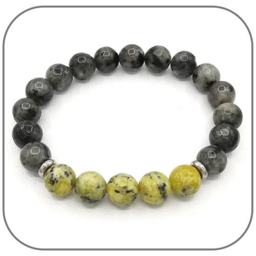 Bracelet Labradorite et Serpentine jaune - Perle acier argent ou dorée