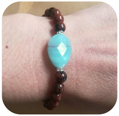 Bracelet Amazonite goutte facettes et Obsidienne acajou
