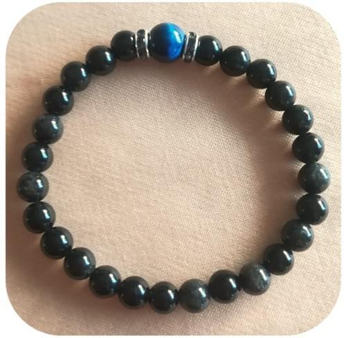 Bracelet Obsidienne 6mm et Œil de tigre bleu 8mm