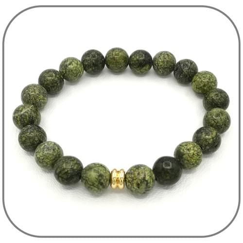 Bracelet Serpentine verte Pierre naturelle 8mm - Perle argent ou dorée