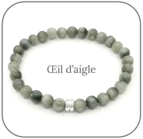Bracelet Pierre naturelle grise 6mm Au choix : Labradorite, Obsidienne mouchetée, Oeil d'aigle