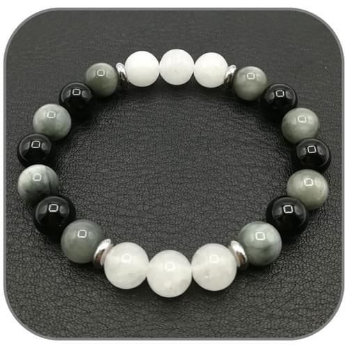 Bracelet Equilibre intérieur Jade blanc, Onyx et Oeil d'aigle