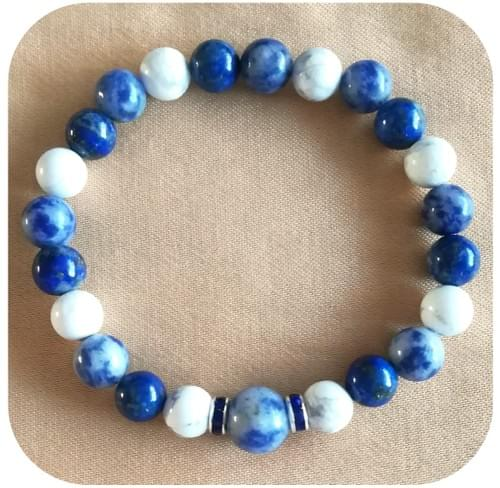 Bracelet Chakra 3ème Œil avec Lapis Lazuli, Sodalite et Howlite