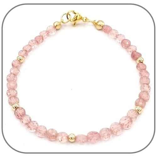 Bracelet Quartz fraise Pierre semi-précieuse Monture acier doré, argent ou or rose