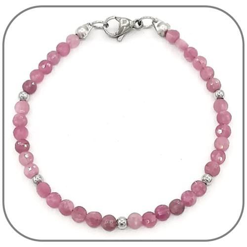 Bracelet Tourmaline rose Pierre semi-précieuse Monture acier doré, argent ou or rose