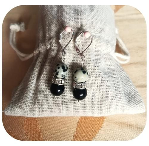 Boucles d'oreilles Jaspe dalmatien & Obsidienne