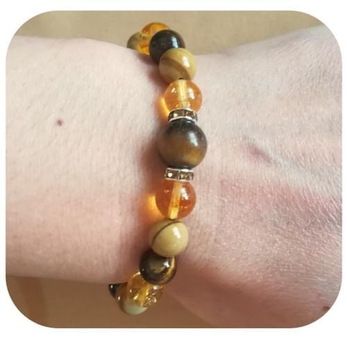 Bracelet Chakra du Plexus solaire avec Œil de tigre, Citrine et Bois fossile