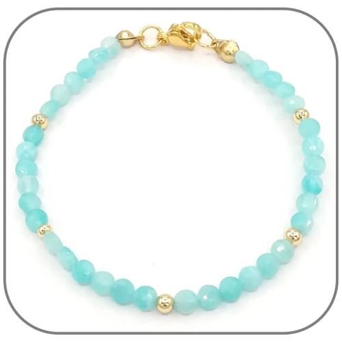 Bracelet Amazonite Pierre semi-précieuse Monture acier doré, argent ou or rose