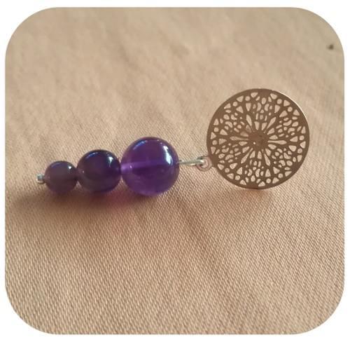 Boucles d'oreilles motif en filigrane 5 pierres naturelles au choix