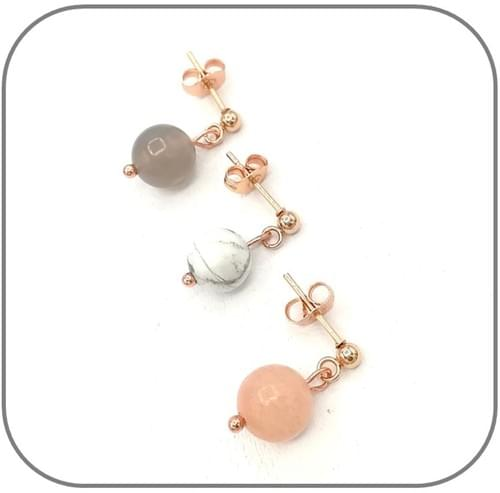 Boucles d'oreilles Acier or rose et Pierre naturelle 8mm au choix