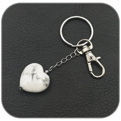 Porte clés Cœur pierre naturelle au choix Agate, Oeil de tigre, Quartz rose, Unakite, Howlite