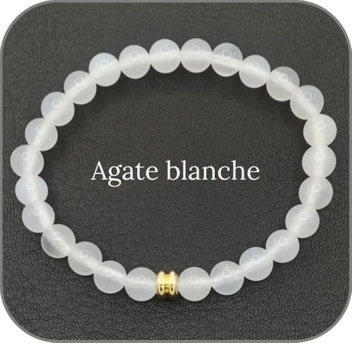 Bracelet Pierre naturelle Blanche 6mm Au choix : Agate, Jade, Howlite
